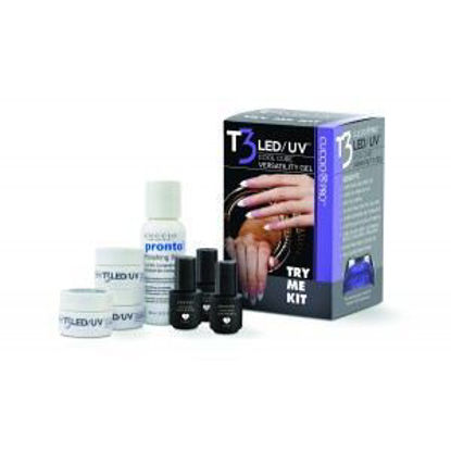 Picture of T3 LED/UV Try Me Kit (7gr clear, pink, white, 3ml prep, fuse, top, 60ml fwh)