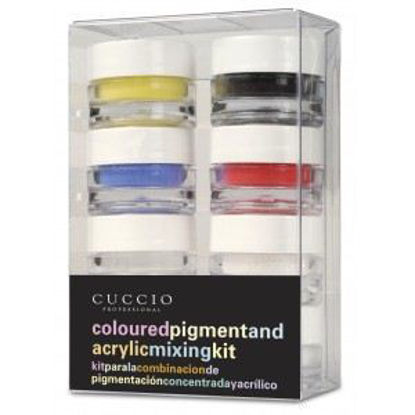 Picture of Coloured Pigment Kit (5gr blauw, geel, rood, zwart, wit, clear, glitter, leeg)